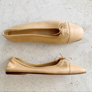 🌾 CHANEL Ballet Flats Leather Beige size 38.5